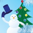 Snowman welcomes — Stock Vector