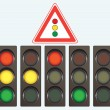 Different traffic light and road sign - Stock Vector