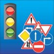 Road signs and traffic light — Stock Vector