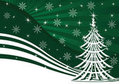 Christmas tree and green background — Stock Vector