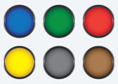 Six colored buttons — Stock Vector