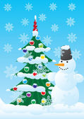 Snowman and Christmas spruce — Stock Vector