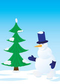 Snowman and spruce — Stock Vector