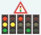 Different traffic light and road sign — Stock Vector