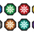 Stock Vector: Buttons with white snowflakes