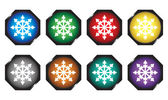 Botones con copos de nieve blancas — Vector de stock