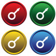 Royalty-Free Stock Vector Image: Plastic buttons with the symbol of Mars