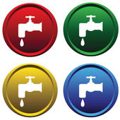 Plastic buttons with a water tap — Stock Vector