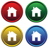 Two plastic buttons with the house — Stock Vector