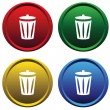 Plastic buttons with recycle bin - Stock Vector