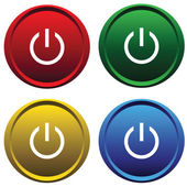 Four buttons with symbol power — Stock Vector