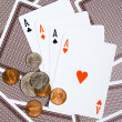 Four aces. Money and Cards — Stock Photo