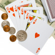 Money and Cards on white background — Stock Photo