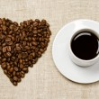 Stock Photo: Love coffee. Heart and coffee