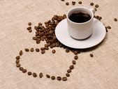 älska kaffe. hjärta och kaffe — Stockfoto
