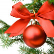 Christmas pine branch with a red ball an — Foto de Stock