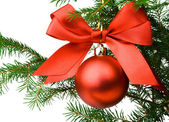 Christmas pine branch with a red ball an — Stock Photo