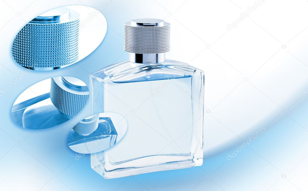 Men perfume. Bottle spray blue color. Glamour — Stock Photo #1258183