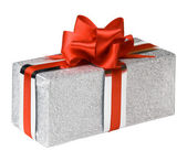 Silver gift boxes with red ribbons — Stock Photo