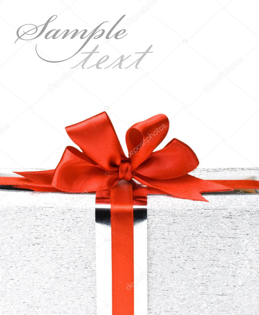 Silver gift boxes with red ribbons — Stock Photo #1329680