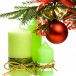 Christmas ball, ribbon, bells candles - Stock Photo