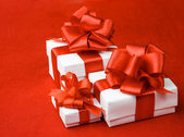 White box on a red background — Stock Photo