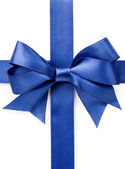 Beautiful blue bow on white background — Stock Photo