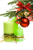 Christmas ball, ribbon, bells candles — Stok fotoğraf
