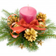 Stock Photo: Candle and ribbon in spruce branches
