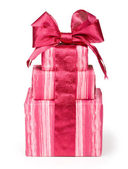 Gift boxes with red ribbons and bow — Stock Photo