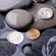 Royalty-Free Stock Photo: Sea water, stones and coins