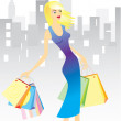 Woman with shopping bags in town. — Stock Vector