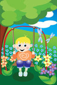 A young boy on a swing — Stock Vector