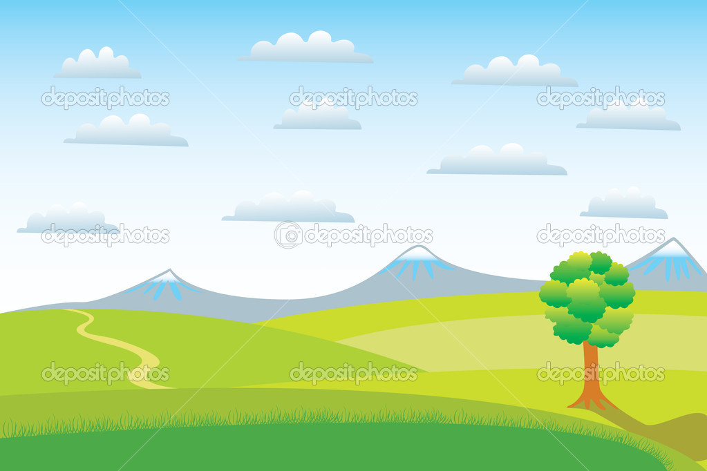 A lone tree on a clear day. — Stock Vector #1095424