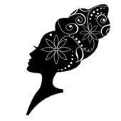 Floral hairstyle, woman face silhouette — Stock Vector