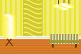 Interior of a room in retro style — Vector de stock