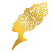 Gold hairstyle, woman face silhouette — Stock Vector