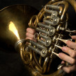 Old French Horn closeup — Stock Photo