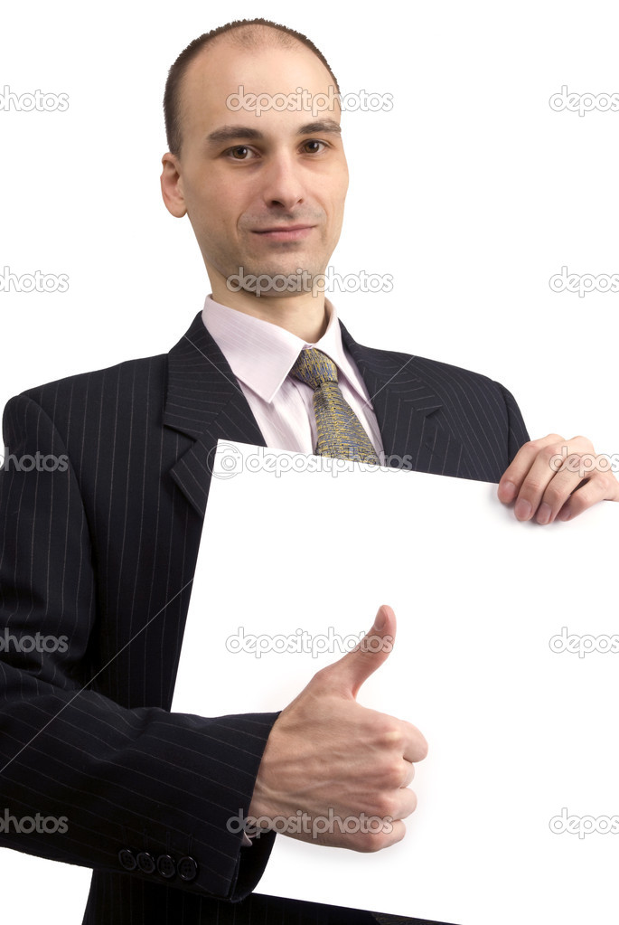 Man holding a blank sign in front of him — Stock Photo #1050426