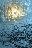 Hoarfrost on window — Stock Photo