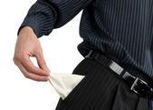 Businessman show empty pocket — Stock Photo