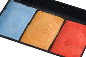 Grease-paint box closeup — Stock Photo