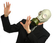 Man in suit and tie with gas mask — Stock Photo
