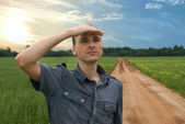 Man on the road — Stock Photo