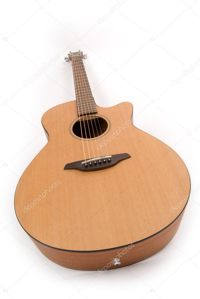 Guitar on white. Wide angle. — Stock Photo #1071044