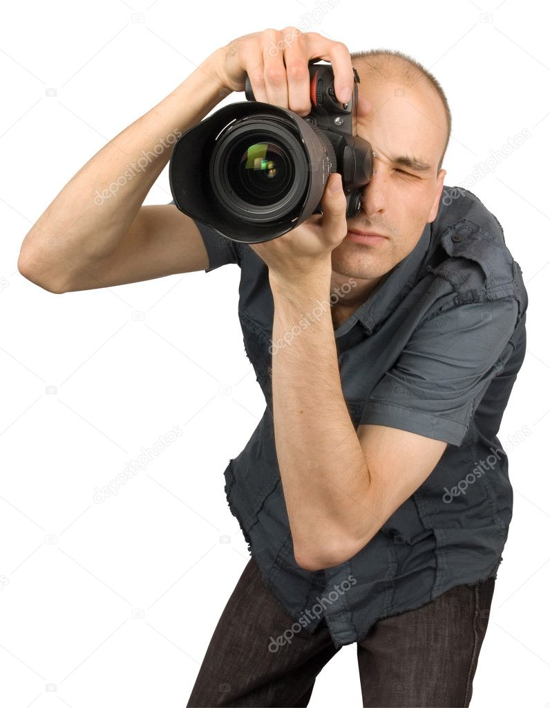 Professional Photographer isolated on white — Stock Photo #1072298