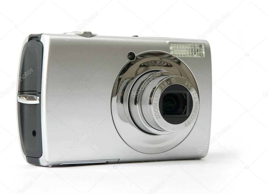 Small metal Digital photo camera — Stock Photo #1099583