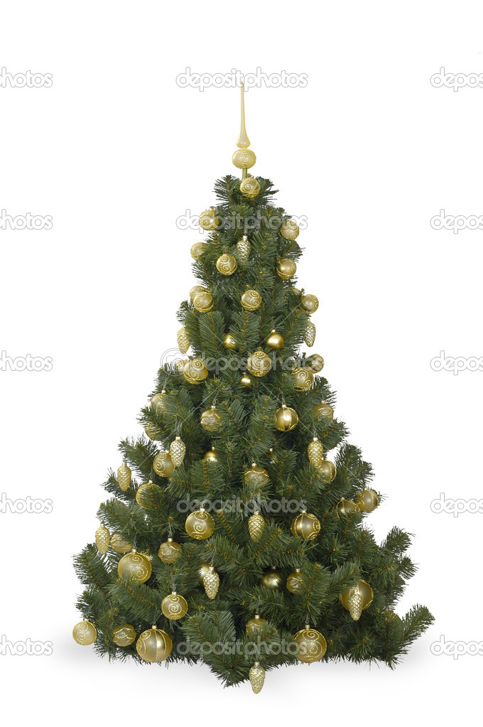 Fir tree with decoration on a white background — Stock Photo #1141755