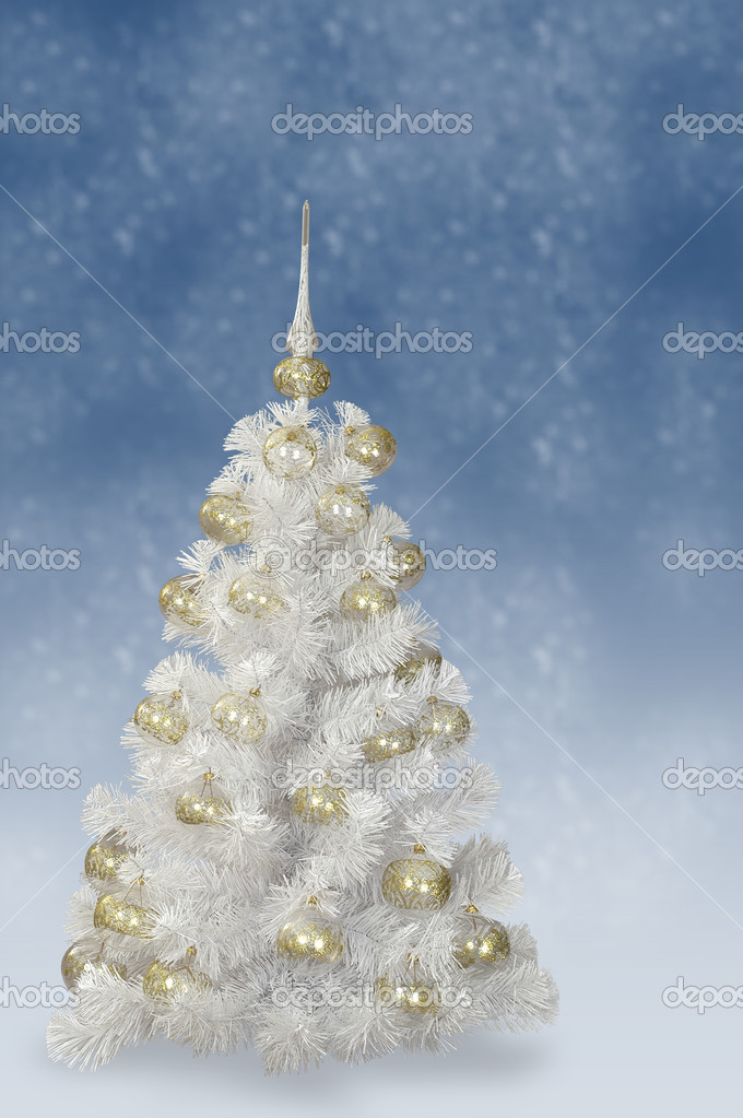 White Fir tree with decoration — Stock fotografie #1141767