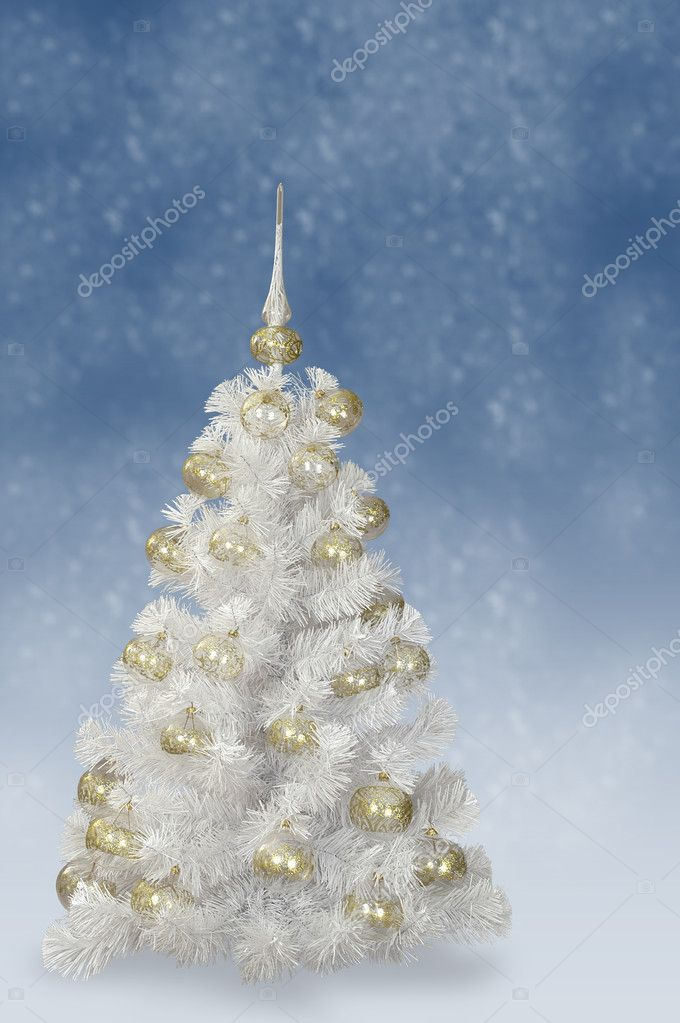 White Fir tree with decoration — Stok fotoğraf #1141767